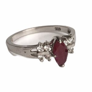 Vintage Ruby Faux Diamond Ring Sterling Silver 8